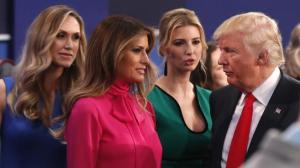 Donald Trump with daughter Ivanka, wife Melania and daughter-in-law Lara Yunaska at 2nd Presidential debate Oct 9, 2016