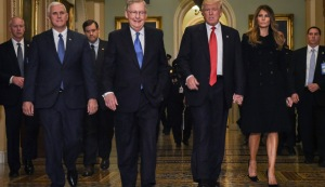 WASHINGTON, DC - NOVEMBER 10: President Elect Donald Trump, center right, walks through halls of U.S. Capitol for a meeting with Senate Majority Leader Mitch McConnell, center left, (R-KY), November, 10, 2016 , Washington, DC. Accompanying him are his wife, Melania, right, and Vice President Elect Mike Pence, left. (--Bill O'Leary/The Washington Post/ Getty Images)