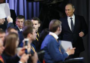 Putin arrives at Press Conference