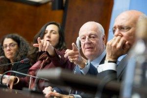 UN Special Envoy for Syria Steffan de Mistura (2nd R), Geneva, February 22, 2017