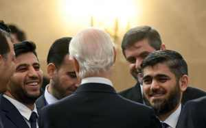 Mohammad Alloush, right, chief opposition negotiator of Jaish al-Islam (Army of Islam), listens to Staffan de Mistura, UN envoy for Syria, Syria peace talks at Astana's Rixos President Hotel (--Kirill Kudryavtsev/AFP/Getty Images)