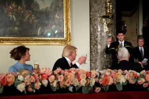 Melania, Donald Trump, Paul Ryan, Inaugural luncheon (--Tama/Getty/Newsweek)