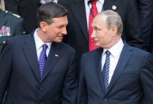 Vladimir Putin with Slovenian President Borut Pahor (--JURE MAKOVEC/AFP/Getty Images)