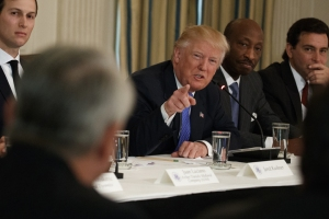 President Trump meets with manufacturing executives at White House, February 23, 2017. From left: White House Senior Adviser Jared Kushner, Trump, Merck CEO Kenneth Frazier, Ford CEO Mark Fields. (--AP/Evan Vucci)
